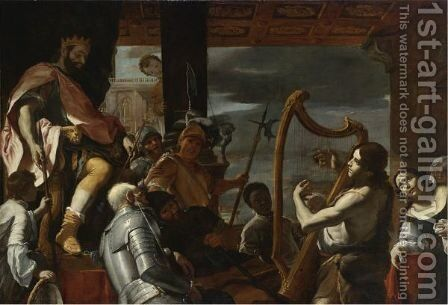 David Playing The Harp Before Saul by Mattia Preti - Reproduction Oil Painting