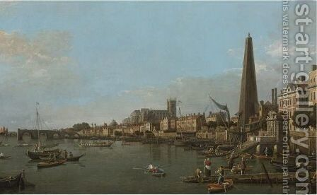 London, A View Of The Thames, Looking Towards Westminster From Near The York Water Gate by (Giovanni Antonio Canal) Canaletto - Reproduction Oil Painting