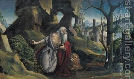 Saint Jerome In A Rocky Wooded Landscape by Defendente Ferrari - Reproduction Oil Painting