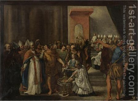 Constantine Burning The Arian Books At The First Council Of Nicaea by Carlo Magnone - Reproduction Oil Painting