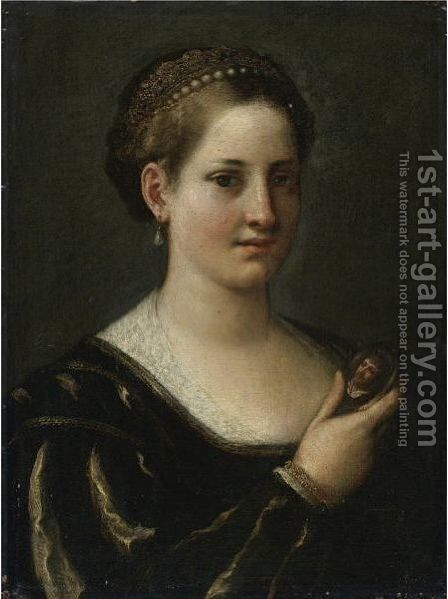 Portrait Of A Lady With A Miniature Of Her Husband by Emilian School - Reproduction Oil Painting