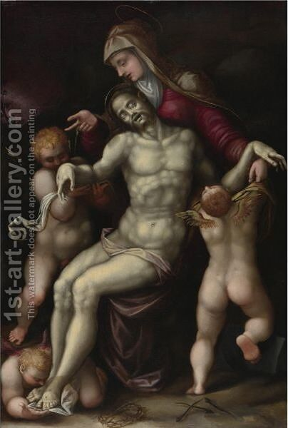 Pieta by Cremonese School - Reproduction Oil Painting
