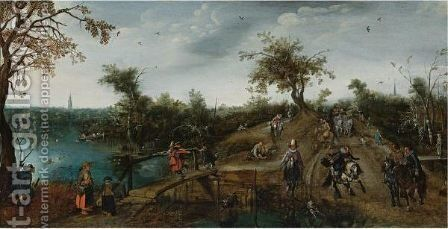 An Extensive Landscape With Princes Maurits And Frederik Hendrik Nassau In A Carriage And Other Elegant Travellers Passing a river by Adriaen Pietersz. Van De Venne - Reproduction Oil Painting