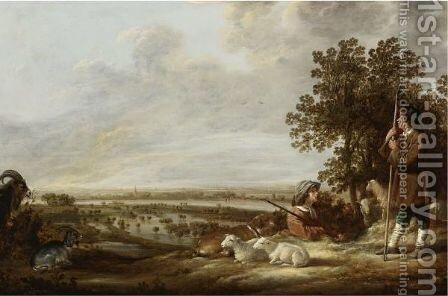 Flooded River Landscape With Two Shepherds And Their Flock Of Sheep And Goats by Aelbert Cuyp - Reproduction Oil Painting