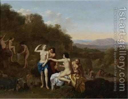 Diana And Her Attendants by Cornelis Van Poelenburgh - Reproduction Oil Painting