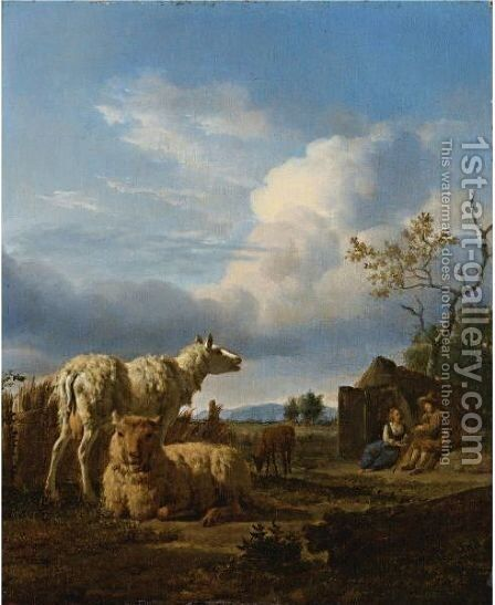 Pastoral Landscape With Sheep And Peasants by (after) Adriaen Van De Velde - Reproduction Oil Painting