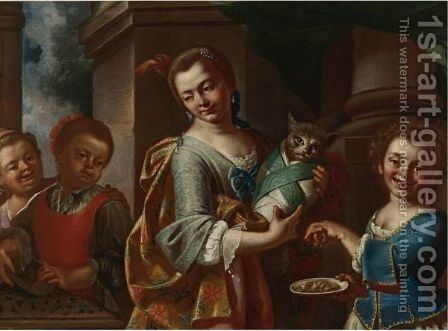 Girls Playing With A Cat by Giuseppe Bonito - Reproduction Oil Painting