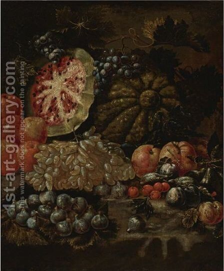 Still Life With Fruit by Neapolitan School - Reproduction Oil Painting