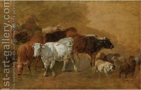 Cattle And Sheep Driven By Peasants by (after) Jean-Baptiste Huet I - Reproduction Oil Painting
