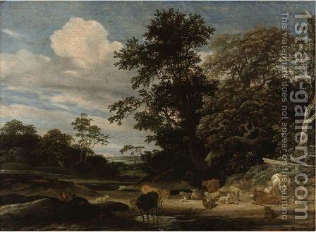 Wooded Landscape With Herd Animals Resting By A Pond by Jacob Salomonsz. Ruysdael - Reproduction Oil Painting