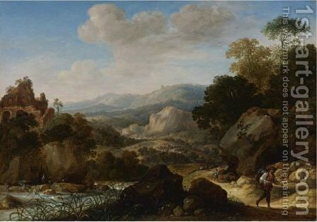 Mountainous Landscape With Travelers by Herman Saftleven - Reproduction Oil Painting