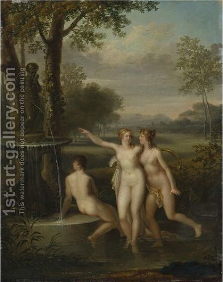 Three Nudes By The Fountain Of Love by Jacques-Antoine Vallin - Reproduction Oil Painting