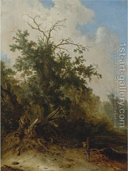 A Woodman Standing Before A Blasted Oak On A Forest Path by Jacobus Sibrandi Mancadan - Reproduction Oil Painting