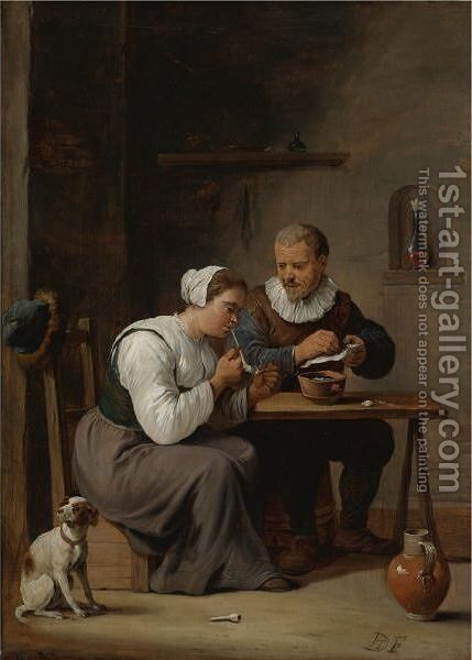 Interior With A Man And Woman Seated At A Table, The Woman Lighting A Pipe by (after)  David The Younger Teniers - Reproduction Oil Painting