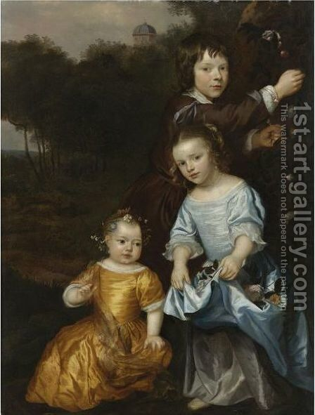 Portrait Of Three Children In A Landscape by Jan Mijtens - Reproduction Oil Painting