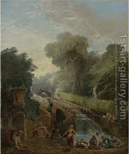 A View Of The Cascade At The Villa D'Este, Rome, With Women Washing Clothes At Its Base by Hubert Robert - Reproduction Oil Painting
