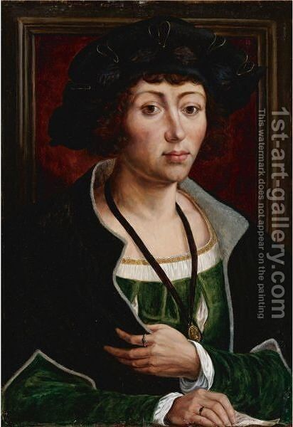 Portrait Of A Man, Perhaps Jan Gossaert As A Young Man by (after) Jan (Mabuse) Gossaert - Reproduction Oil Painting