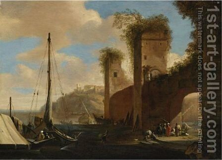 Harbor Scene With Ships, Ruins And Figures By An Archway by (after) Filippo (Il Napoletano) D'Angeli - Reproduction Oil Painting