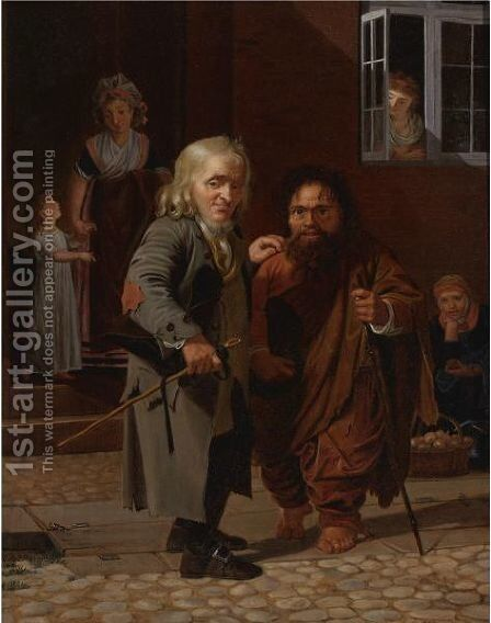 Street Scene With Figures by Dutch School - Reproduction Oil Painting
