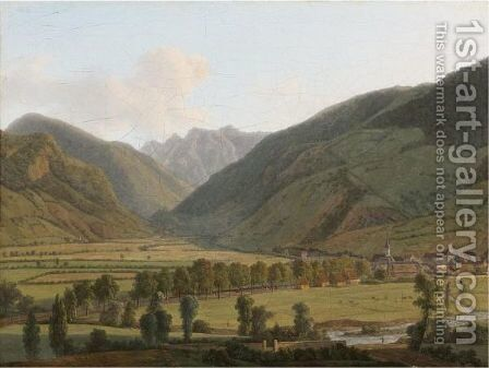 View Of Bagneres-De-Luchon 2 by Alexandre-Louis-Robert-Millin Duperreux - Reproduction Oil Painting