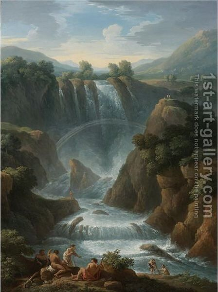 The Marmore Waterfalls At Terni by Jan Frans van Orizzonte (see Bloemen) - Reproduction Oil Painting