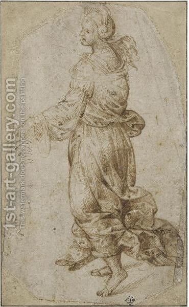 A Female Figure Walking To The Right And A Separate Sketch Of A Head Of A Boy And A Hand by (after) Timoteo Viti - Reproduction Oil Painting