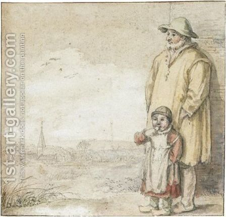 A Man And An Eating Child In A Landscape, A Village To The Left by Hendrick Avercamp - Reproduction Oil Painting