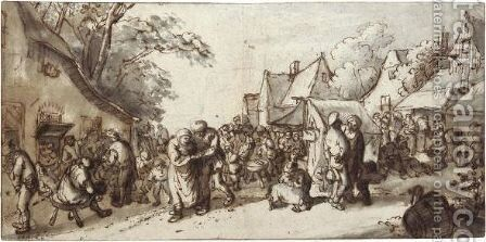 Peasants Merrymaking On A Village Street by Cornelis Dusart - Reproduction Oil Painting
