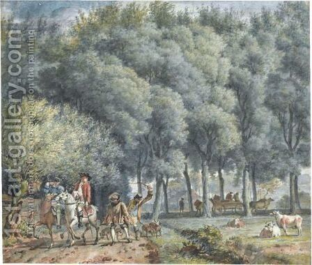 A Hawking Party At The Edge Of A Wood, Cows Grazing Nearby by (after) Aert Schouman - Reproduction Oil Painting