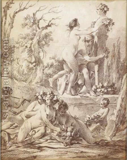 A Bacchanale Naked Nymphs Decorating A Herm by Jean-Baptiste-Marie Pierre - Reproduction Oil Painting