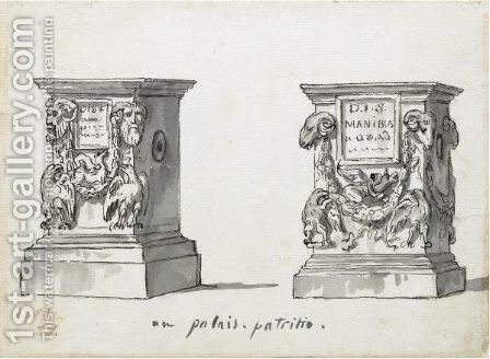 Two Roman Altars With The Epitaphs D.I.S Manibus by Jacques Louis David - Reproduction Oil Painting