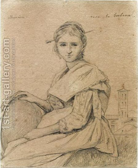 Portrait Of Rosa Holding A Tambourine, A Church In The Background by Jean-Baptiste-Camille Corot - Reproduction Oil Painting