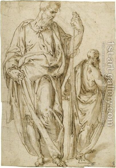 Two Standing Figures, One Holding A Staff In His Left Hand by Aurelio Luini - Reproduction Oil Painting