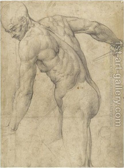 A Male Nude Holding A Dagger, With A Subsidiary by Battista Franco - Reproduction Oil Painting