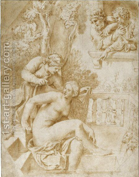 David Observing Bathsheba Bathing by Giulio Pippi (Giulio Romano) - Reproduction Oil Painting