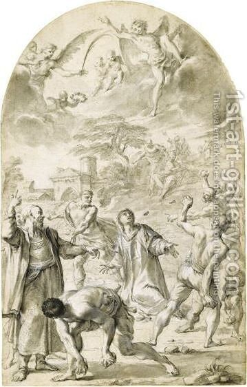 The Stoning Of St. Stephen by Aureliano Milani - Reproduction Oil Painting