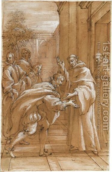 St Bernard Received Into The Abbey Of Citeaux By St Stephen Harding by Giuseppe Passeri - Reproduction Oil Painting