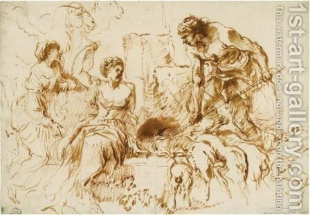 Jacob And Rachel At The Well by Giovanni Benedetto Castiglione - Reproduction Oil Painting