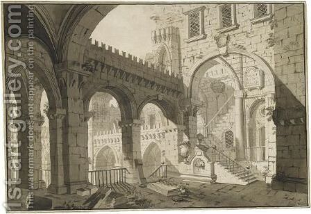 Architectural Capriccio With A Rusticated Arcade Overlooking A Courtyard by Giovanni Maria Quaglio - Reproduction Oil Painting