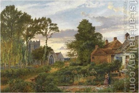 Evening, The Ploughman Homeward Plods His Weary Way by Benjamin Williams Leader - Reproduction Oil Painting