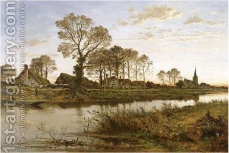 On The Banks Of The Ivy O by Benjamin Williams Leader - Reproduction Oil Painting