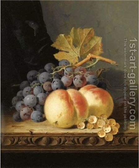 Still Life With Peaches, Grapes And Whitecurrants by Edward Ladell - Reproduction Oil Painting
