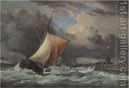 Calais Harbour, View Of Old Pier And Fort Rouge With Sloop Entering by Edward William Cooke - Reproduction Oil Painting
