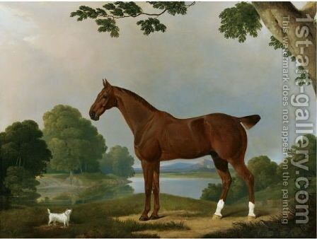 Aconbury, A Hunter, And Coaxer, A Terrier, In A Landscape by James Barenger - Reproduction Oil Painting