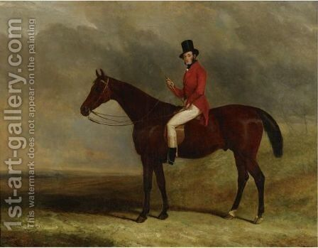 A Gentleman On His Hunter In A Landscape by Charles Hancock - Reproduction Oil Painting