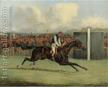 Lord Falmouth's Dutch Oven Winning The Doncaster St. Leger In 1882, Ridden By Fred Archer by Henry Thomas Alken - Reproduction Oil Painting