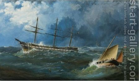 A French Sailing Packet Riding Out A Storm Off Penzance by Capt. John Haughton Forrest - Reproduction Oil Painting