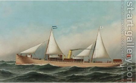 The Ship Aguan by Antonio Jacobsen - Reproduction Oil Painting