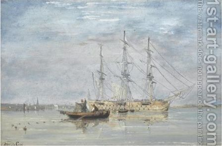 Fisherman Near A Three-Mastership In An Estuary, Chichester Beyond by David Cox - Reproduction Oil Painting
