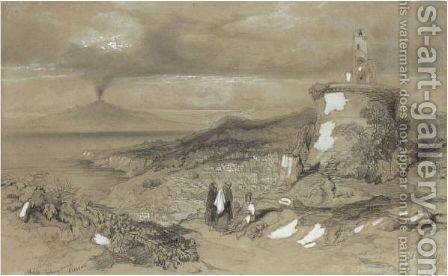 Massa Looking Towards Vesuvius by Edward Lear - Reproduction Oil Painting